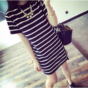 Stripes Printed Short Sleeves Mini Dress - Black