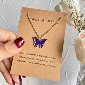 Butterfly Pendant Hook Closure Women Fashion Necklace - Purple