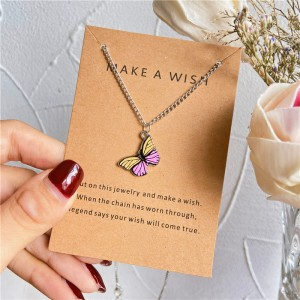Butterfly Pendant Hook Closure Women Fashion Necklace - Multicolor