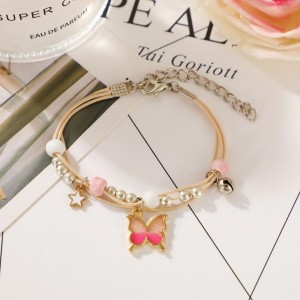 Butterfly Decorative Gold Plated Chain Bracelet