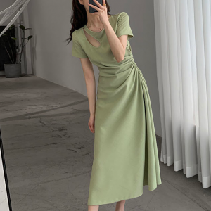 Solid Color Cut Out Neck Midi Dress - Green
