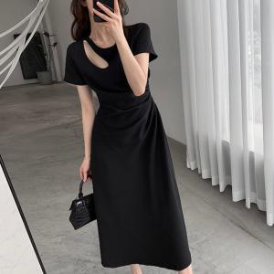 Solid Color Cut Out Neck Midi Dress - Black