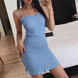 Spaghetti Strapped Textured Mini Dress - Blue
