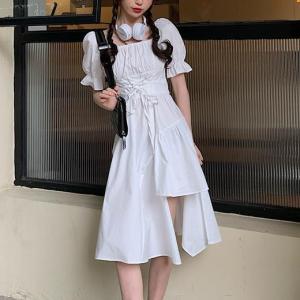 String Waist Solid Color Split Hem Vintage Dress - White