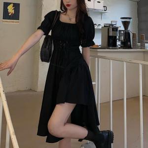 String Waist Solid Color Split Hem Vintage Dress - Black