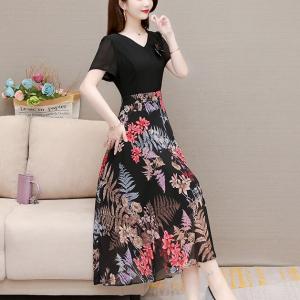 V Neck A-Line Multicolor Women Fashion Dress - Black