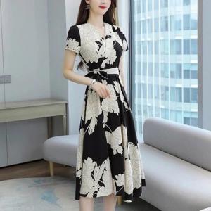 V Neck Printed A-Line Floral Short Sleeves Dress - Black Multicolor