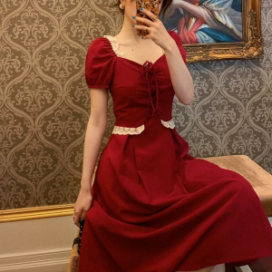 Sweetheart Neck Doll Style Lace Patched Midi Dress - Red