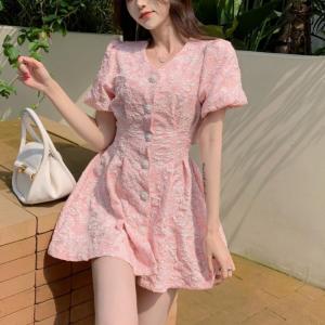 Button Closure Thread Art Mini Elegant Dress - Pink