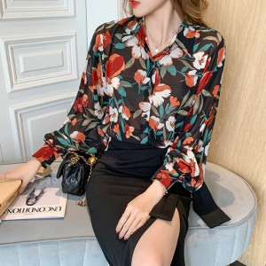 Thin Fabric Floral Print Premium Summer Tops - Black