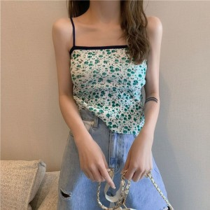 Ribbed Summer Wear Crop Top - Green
