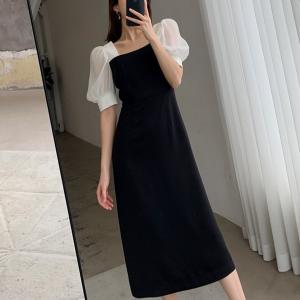 Puff Shoulder Square Neck Contrast Midi Dress - Black