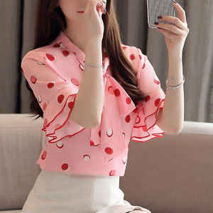 Knot Neck Polka Dotted Fancy Blouse Top - Pink
