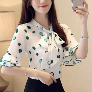 Knot Neck Polka Dotted Fancy Blouse Top