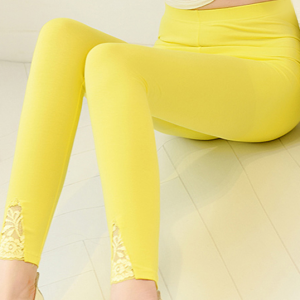 Narrow Bottom Body Fitted All Season Wear Women Bottom Pants - Yellow
