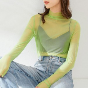High Neck See Through Thin Fabric Outwear Sexy Top - Green
