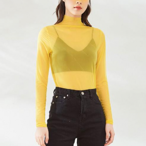 High Neck See Through Thin Fabric Outwear Sexy Top - Yellow