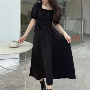 Square Neck Short Sleeves Solid Color Midi Dress - Black