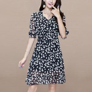 Floral Print Notched Neck Half Sleeves Mini Dress