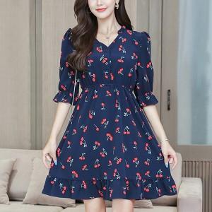 Cherry Prints Notched Neck Half Sleeves Mini Dress