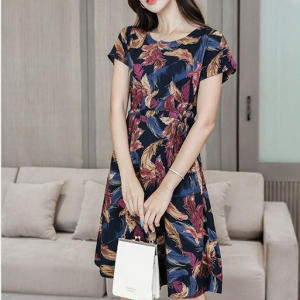 Digital Print Round Neck Mini Dress - Black