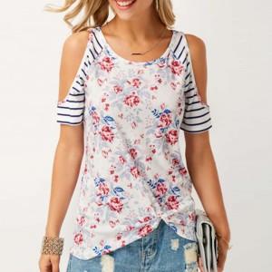 Cold Shoulder Printed Floral Summer Blouse Top