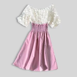 Waist Ripple Pineapple Short Sleeved Mini Dress - Pink