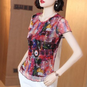 Round Neck Printed Summer Wear Blouse Top - Pink