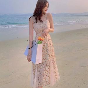 Printed Floral Thin Fabric Beachwear Elegant Fashion Dress