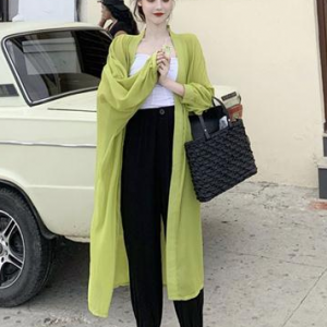 Full Sleeves Solid Color Midi Length Cardigan - Green