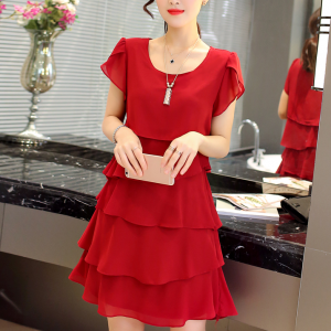 Ruffled Layered Solid Color Women Fashion Mini Dress - Red
