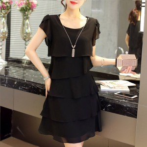 Ruffled Layered Solid Color Women Fashion Mini Dress