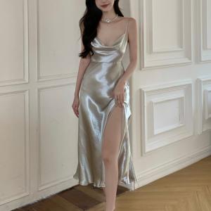 Spaghetti Strap Split Hem Shiny Party Wear Dress - Silver