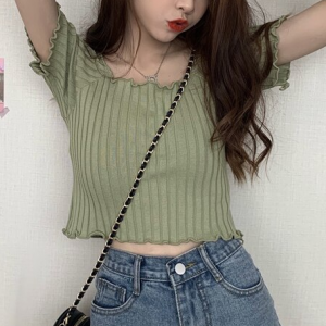 Ribbed Crop Style Summer Wear Mini Top - Green