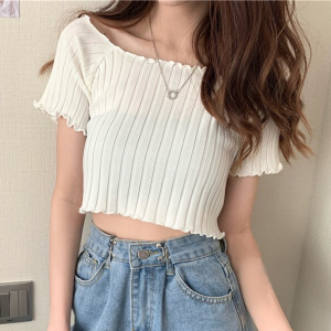 Ribbed Crop Style Summer Wear Mini Top - White