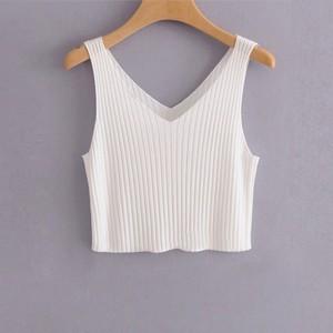 V Neck Sleeveless Solid Color Summer Blouse Mini Top - White
