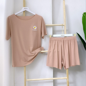 Round Neck Two Pieces Casual Wear Suit - Apricot