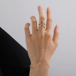 Braid Chain Gold Plated Women Ring Chain Set