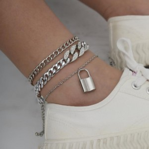 Lock Pendant Gold Plated Anklet - Silver