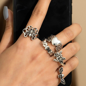 Five Pieces Carved Silver Plated Rings Set