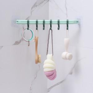 Toilet Bath Towel rack Nordic Simple Single Rod With Hook Towel Bar - Light Green
