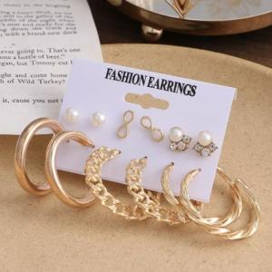 Six Pairs Bohemian Pearl Decorative Earrings Set