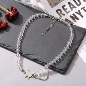 Butterfly Patched Silver Plated Necklace - Silver