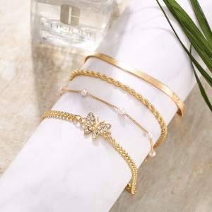 Gold Plated Multi Layered Anklet Set - Golden