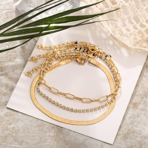 Gold Plated Braid Multi Layered Anklet Set