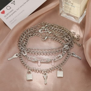 Silver Plated Multi Layered Anklet Set - Silver