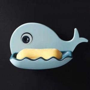 Whale Shape Unique Style Drain Soap Wall Adhesive Soap Dish - Sky Blue