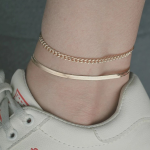 Gold Plated Multi Layered Anklet Set