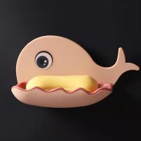 Whale Shape Unique Style Drain Soap Wall Adhesive Soap Dish - Pink