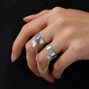 Dangle Butterfly Adjustable Chang Joint Women Rings - Silver